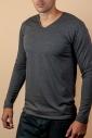 Thermo tričko s dlouhým rukávem V-neck Carded bavlna 15-135