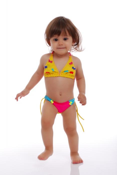 Děti Bikini Plavky měkké trojúhelník dna s vazbami 1114