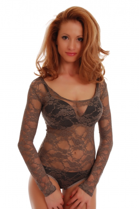 Lace Ladies kombinézu kulatý výstřih s dlouhým rukávem Bikini styl 904