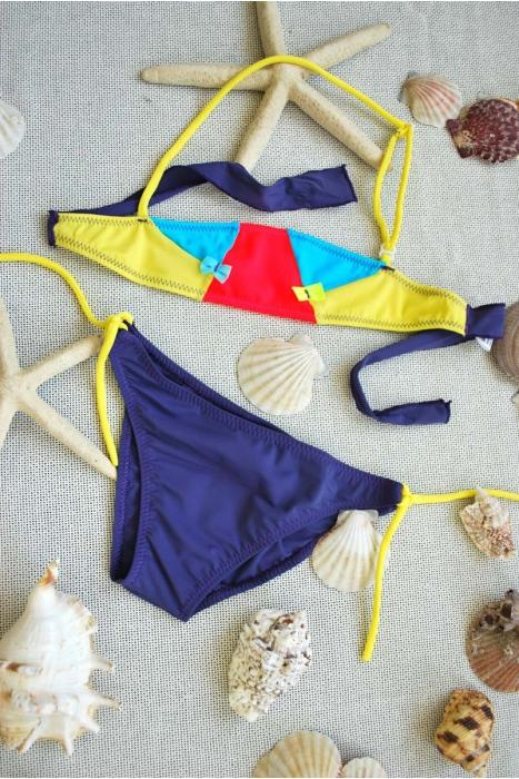 Děti Bikini Plavky Bando dna s vazbami 1113