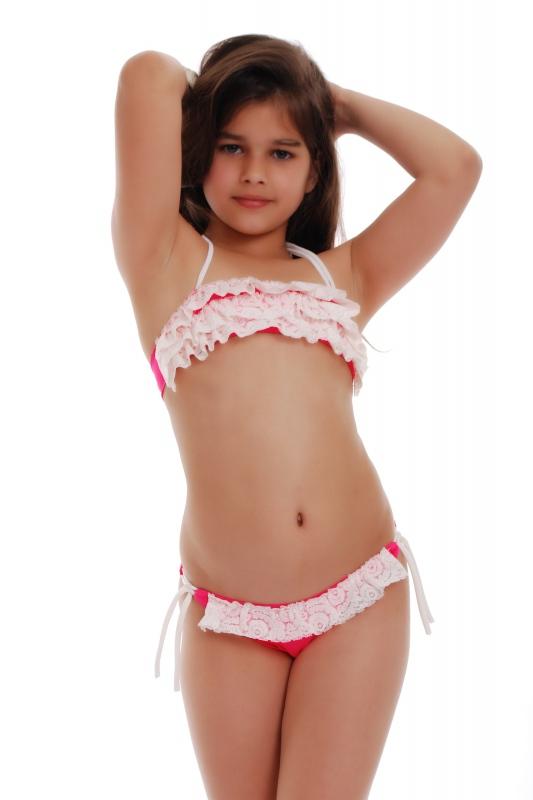 Děti Bikini Plavky Bando volánky doraz s vazbami 1115